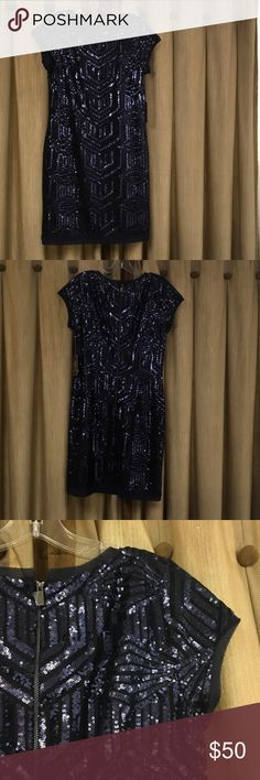 """Vince Camuto Sequin Blue Short Dress Vince Camuto Sequin Sapphire Blue Short Dress Chiffon trim, cap sleeve. 37"""" long. All proceeds go to Dress for Success Mercer County. Vince Camuto Dresses Midi"""