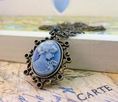 Blue Cameo Necklace Victorian Brass  by TossedTreasures for $16.00