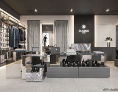Men's clothing store in Kiev. on Behance Bedroom Bed Design, Master Bedroom, Clothing Store Interior, Men's Clothing, Houses In Poland, Divider Design, Paris Arrondissement, Interior Design Studio, Retail Design