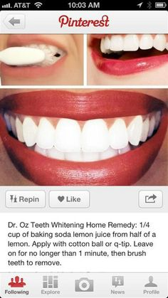 Whitening teeth with baking soda by Dr.Oz