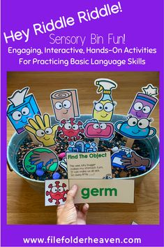"""These Hygiene Activities, """"Hey Riddle Riddle"""" Sensory Bin Riddles are going to be so much fun during hygiene themed units or this back to school season. Each """"Hey Riddle Riddle"""" set focuses on language skills, making inferences, identifying things relating hygiene, cleaning routines, or hygiene themed vocabulary. Students can also practice matching a word to a picture. Early Learning Activities, Language Activities, Hands On Activities, Sensory Activities, Cleaning Routines, Making Inferences, Activity Mat, File Folder Games, Sensory Bins"""