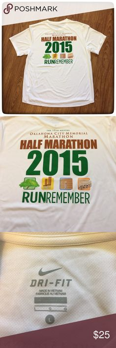 """NIKE Oklahoma Marathon Race shirt NWOT 2015 📦Same day shipping (as long as P.O. is open for business). ❤ Measurements are approximate. Descriptions are accurate to the best of my knowledge.  Brand new without tags. Race t-shirt from the 15th memorial race on 26 April 2015 Oklahoma City Memorial Marathon. It is NIKE DRI FIT. The first two photos are the back of the T-shirt. Material: 100% recycled polyester. Flat measurements: 22"""" across chest, 26.5"""" long front, 28"""" long back. Smoke/pet free…"""