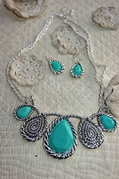 Rustic Tear Drop Turquoise Necklace Set by RusticBaubles on Etsy, $22.99