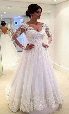 AHW009 Princess Lace Appliqued with Long Sleeves Sweep Train White Wedding Dresses 2017