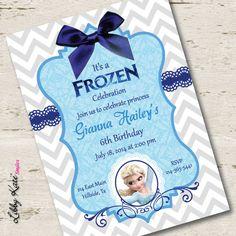 Preciosa invitación para una celebración de cumpleaños inspirada en la película de Disney Frozen