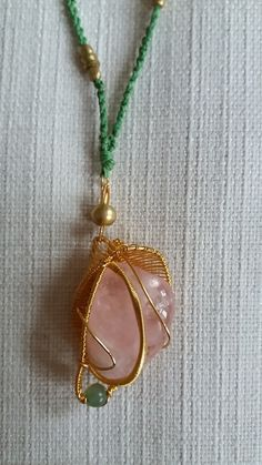 Rose quartz pendant -  budding lotus by Weavedmagic on Etsy