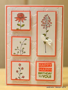 I used the Flowering Fields Stamp Set which will be available free from the forthcoming Sale-a-bration 2016. The sentiment is from Amazing Birthday Stamp Set which is currently available from the annual catalogue. www.janbcards.com