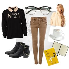 """""""Keep it Neutral."""" by zerouv on Polyvore: VINTAGE OPTICAL RX CLEAR LENS CLUBMASTER WAYFARER GLASSES 2946 49MM"""