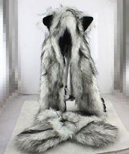 Wolf Full Hood Hoodie Fur Animal Hat Mittens Scarf Zipper 3 IN 1 Hat
