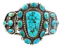 Blue Gem Turquoise Cluster Cuff Bracelet via Perry Null Trading, posted as circa 1930's