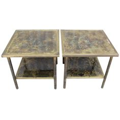 Pair of end tables by Phillip and Kelvin Laverne    1960's  A pair of bronze side tables/coffee tables signed by Phillip and Kelvin Laverne.