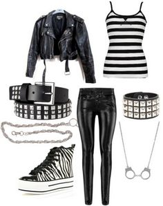 Tank-top, Leather Jacket, Studs, Studed Belt, Bracelet, Shoes, Jeans