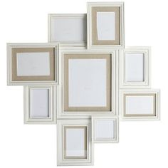 9-Opening White Frame with Linen Mat Collage