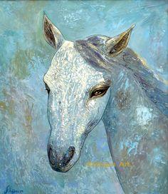 """Blue Horse"" Oil on canvas 2004 © Shijun Munns Blue Horse, 3 Arts, Equine Art, Horse Art, Cool Artwork, Landscape Art, Oil On Canvas, Art Gallery, Creatures"