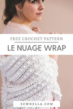 My le nuage wrap features easy crochet bobble stitches and plushy soft yarn. Combined with chubby tassels, this is the perfect shawl or scarf for any outfit! My free pattern is great for beginners. Baby Afghan Crochet, Crochet Shirt, Crochet Poncho, Crochet Scarves, Easy Crochet, Crochet Clothes, Free Crochet, Crochet Vests, Beginner Crochet