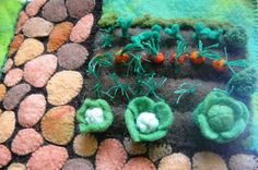 A miniature vegetable plot created from wool felt. This is a detail from a larger playmat, an original design made this year. Felt Play Mat, Play Mats, Wet Felting, Needle Felting, Craft Projects, Sewing Projects, Wooly Bully, Farm Activities, Small World Play