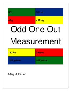 Odd One Out Measurement from mrs.mjbauer on TeachersNotebook.com (12 pages)  - Students use measurement vocabulary to choose what to leave out of a set. $
