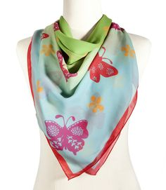 https://www.cityblis.com/3127/item/12521   Butterfly, bright - Silk Scarf - $133 by Vinge Fashion   - oversized silk chiffon scarf  - this genuine hand drawn pattern is printed on the luxurious silk chiffon fabric with high quality digital printing method  Dimension: 110 cm x 110 cm Material:  100% silk   #Scarves