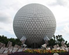 Spaceship Earth at Walt Disney World's EPCOT in Orlando, Florida. I love to see this lit up at night. Disney World Florida, Florida Travel, Walt Disney World, Disney Worlds, Disney Parks, Disney Vacations, Disney Trips, Vacation Spots, Vacation Club