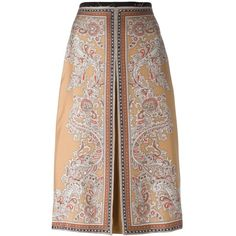 Alexander McQueen paisley box pleat skirt (13.038.120 VND) ❤ liked on Polyvore featuring skirts, mcqueen, beige, brown skirt, box pleat a line skirt, paisley print skirt, a-line skirts and brown a line skirt