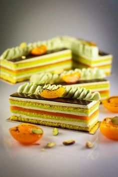Apricot and pistachio opera - Dhara Dhevi Cake Shop Gourmet Desserts, Mini Desserts, Plated Desserts, Delicious Desserts, Elegant Desserts, French Desserts, Beautiful Desserts, Mini Cakes, Cupcake Cakes