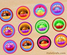 cupcake ladybug digi collage sheet {FREE} Printable Cupcake Ladybug Digital Collage Sheet