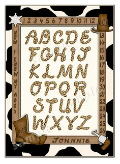Cowboy Alphabet Poster  Rope letters  Personalized  by ChildsTouch, $22.00
