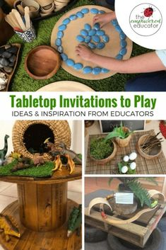 Setting up invitations to play doesn't need to be complicated, time consuming or use expensive resources. Find out how to create your own using simple materials and the reason why we use invitations for early learning. Includes a huge photo gallery of rea Play Based Learning, Learning Through Play, Fun Learning, Learning Stories, Learning Spaces, Early Learning Activities, Outdoor Learning, Toddler Learning, Reggio Emilia