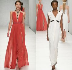 Marios Schwab 2014 Spring Summer Womens Runway Collection - London Fashion Week - Ancient Greece Draped Dresses Gowns Frayed Denim Jeans Seq...