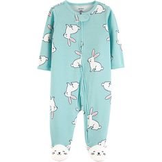 Carter's Size Bunny Sleep N 'Play Footie en azul claro - Ropa De Bebé Baby Outfits, Toddler Outfits, Newborn Outfits, Dress Outfits, Baby Girl Pajamas, Carters Baby Girl, Toddler Pajamas, Easter Pajamas, Baby Girl One Pieces