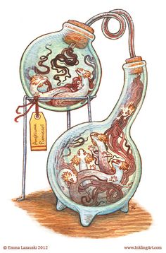 Bottled Creatures - Set 2 by Emma Lazauski, via Behance Fantasy Creatures, Mythical Creatures, Art Sketches, Art Drawings, Creature Design, Dungeons And Dragons, Art Inspo, Fantasy Art, Concept Art