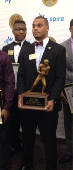 Dak Prescott with Conerly Trophy.  #Hailstate