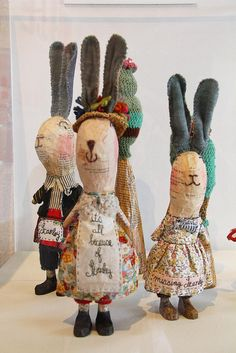 Julie Arkell, paper mache dressed rabbits