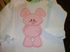 Newborn  Infant Gown with Appliqued Bunny by BibsandBurps on Etsy, $20.00