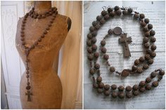 Huge antique French rosary carved wooden beads by OldEnglishRoses