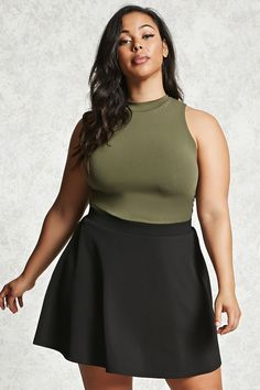 Forever 21+ - A textured circle skirt featuring an elasticized waistband and an exposed back zipper.