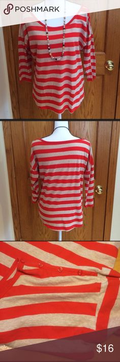 "Gap Dropped Shoulder Top Red/oatmeal stripes. Loose fit, dropped shoulder tee with fitted 3/4 length sleeves. Red accent button detail on the left shoulder. Incredibly soft & stretchy! Approx measurement: chest 42"" length 25.5"". Good condition! Super adorable! 💥Necklace sold separately💥 GAP Tops"