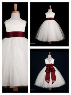 Deep rose / burgundy flower girl dress fall / winter wedding. With a little shawl for winter