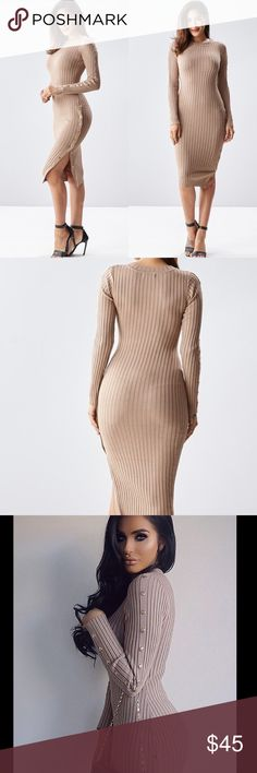 ✨🆕 Sexy Ribbed Snap-Button Midi Dress✨ A lovely mocha color ribbed knit snap-button Midi dress featuring a round neckline with long sleeves. 70% Rayon 30% Nylon. Shop JLO's snap-button dress look! Dresses Midi