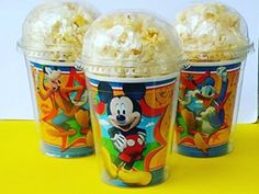 Set of 8 - Mickey Mouse Party Cups, Popcorn Cups, Goody Bags, Favor Boxes