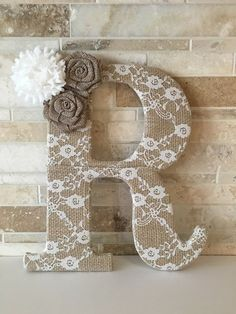 Burlap and lace - lace burlap letter with flowers bridal shower, baby shower and nursery decor Burlap Projects, Burlap Crafts, Craft Projects, Projects To Try, Flower Letters, Diy Letters, Letter A Crafts, Framed Monogram Letters, Cardboard Letters
