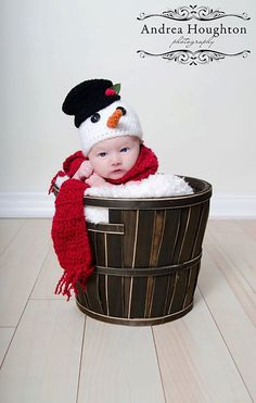 Christmas hat Baby hat Frosty the snowman hat and scarf holiday hat baby photography prop newborn, 0-3, 3-6 Months. $32.99, via Etsy. Super cute