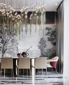 A delightful custom-made chandelier continues the style of the living room. And the original Papiers de Paris wallpaper brings daintiness to the interior. ~ Восхитительная люстра, созданная на заказ, продолжает стилистику гостиной. А оригинальные обои Papiers de Paris привносят в интерьер утонченность. Luxury Dining Room, Dining Room Design, Luxury Interior, Modern Interior Design, Dining Room Wallpaper, Living Room Modern, House Design, Luxury Chandelier, Panelling