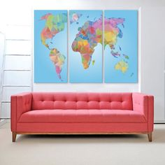 Large colorful modern world map, abstract world map