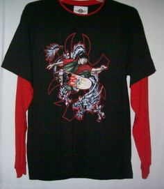 Mad Engine Shirt Size large Skateboard Graphics Black Red Long Sleeve New Tag free shipping