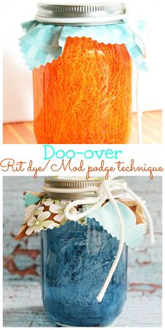 Rit-dye-Mod-podge-doo-over-technique-how-to-paint-glass Mason jars painted with Rit dye and Mod podge 7 different ways Mason Jar Vases, Bottles And Jars, Mason Jar Diy, Glass Jars, Diy Craft Projects, Fun Crafts, Diy And Crafts, Craft Ideas, Mason Jar Projects