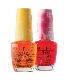 Opi Sheer Tints Top Coats: Use this tinted topcoat over an opaque lacquer to create new color variations or to make an ombré effect on your tips.
