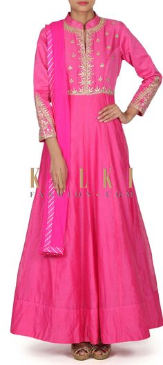 Pink anarkali suit with gotta patch embroidery only on Kalki