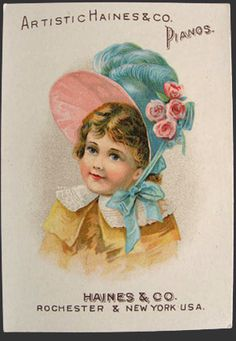 Artistic Haines & Co. Pianos Trade Card ~ Girl with Bonnet