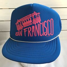 dec6fbd8e06 Vintage San Francisco Cable Car Trucker Mesh Snapback Hat Cap Blue Pink  1990  Unbranded